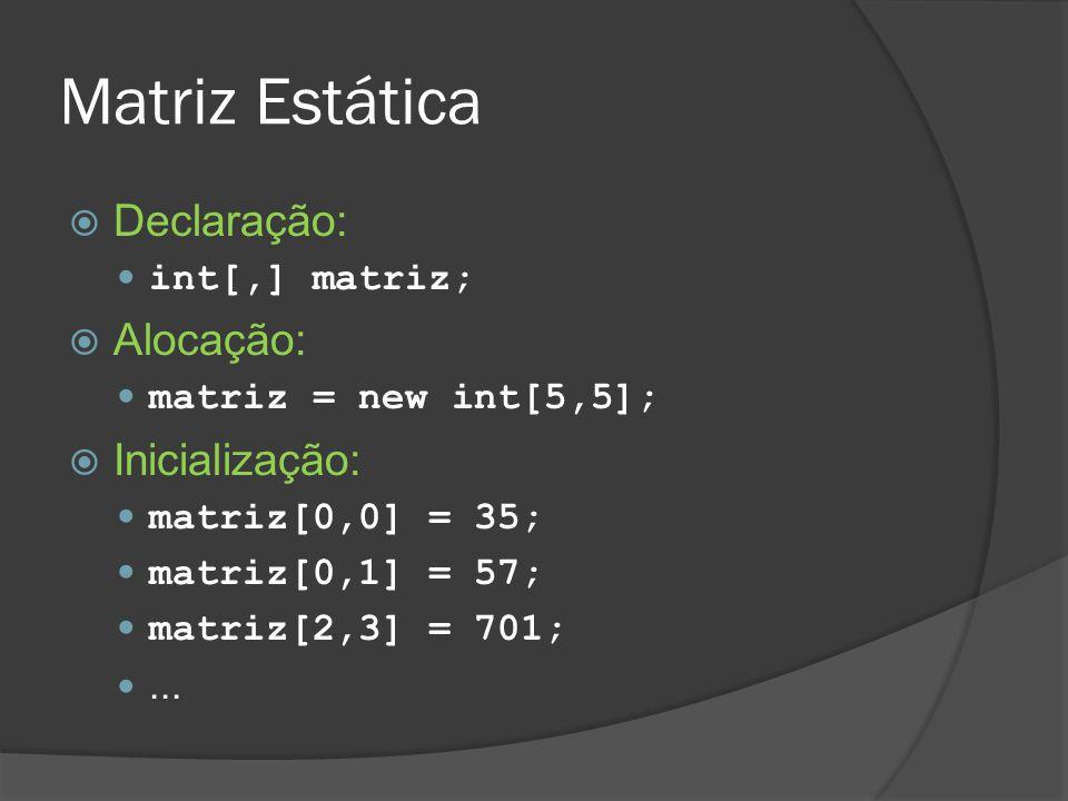 Matriz Estática Declaração: Alocação: Inicialização: int[,] matriz;